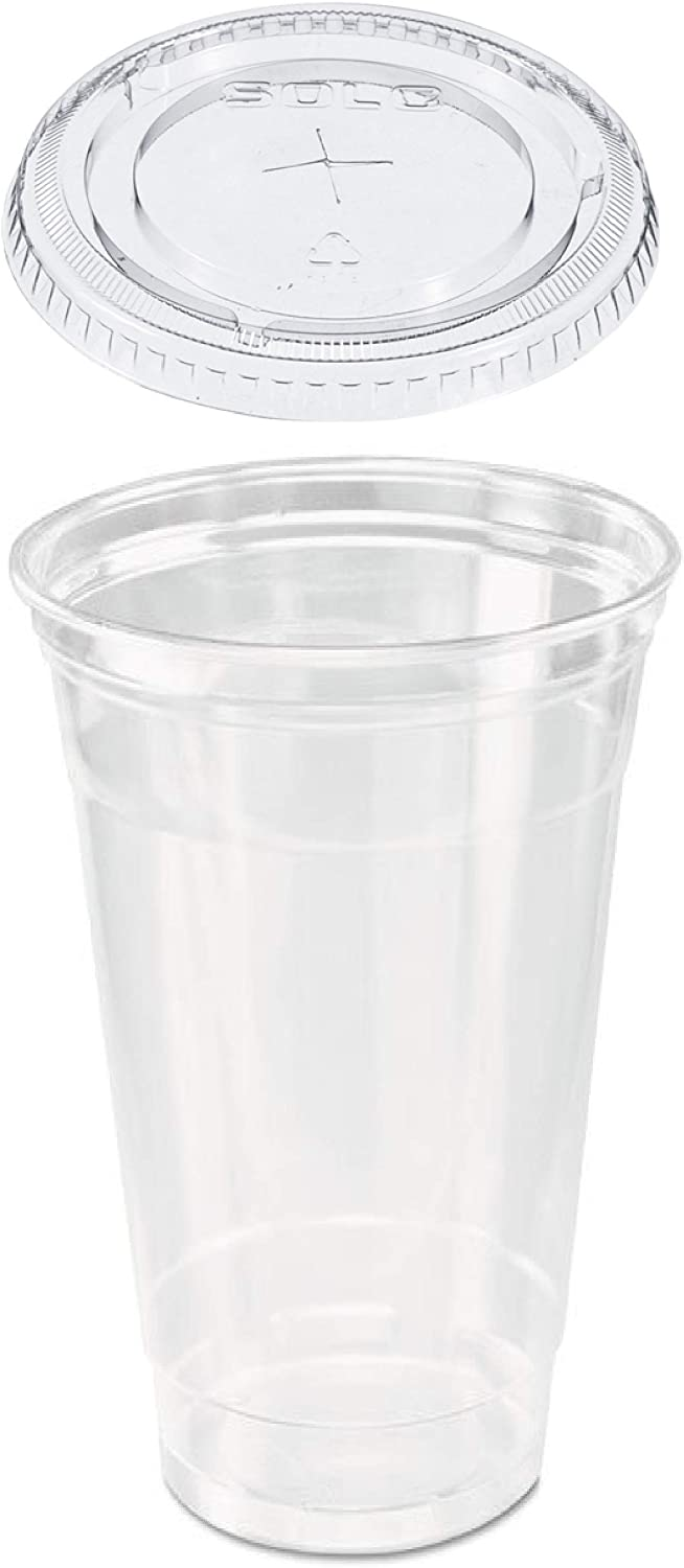 50 count 32 ! Super beauty product restock quality top! Surprise price oz. Clear Plastic Cup Flat Da Straw Lid and Slotted