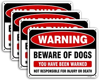 4-Pack Beware of Dog Sign 10x7 inches Rust Free .040 Aluminum, UV Printed- Professional Graphics-Metal Reflective- Easy to Mount- Indoor Or Outdoor Use