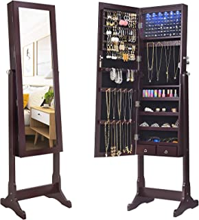 SONGMICS 6 LEDs Mirror Cabinet Armoire, Lockable Free Standing Jewelry Organizer, Large..