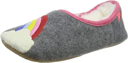 Joules Kids Girl's Slippet Felt Mule Slippers (Toddler/Little Kid/Big Kid) Grey Rainbow LG (2 Little Kid-4 Big Kid)