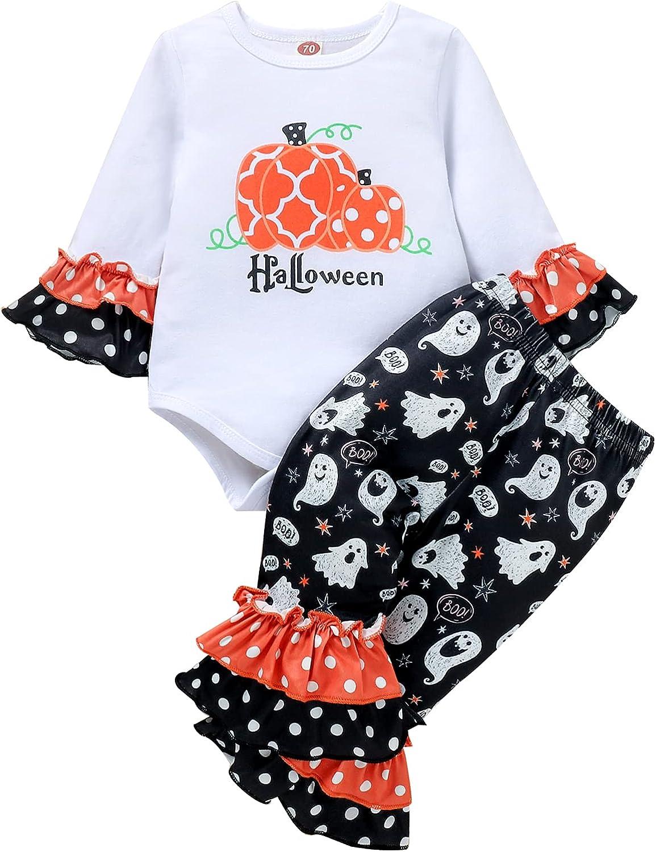 Newborn Baby Girls Ruffle Halloween Clothes Long Sleeve Romper Top Pumpkin Pants Headband Fall Winter Outfit Set