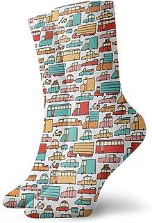 Fuliya, Calcetines cortos de longitud de pantorrilla suaves para niños, dibujo de muchos vehículos, motocicletas, caravanas, camiones, taxis, autobuses, calcetines para mujeres y hombres, ideales para correr
