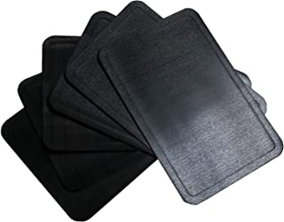 U'Artlines Placemat, PU Leather Heat Insulation Stain Resistant Non-Slip Vinyl Placemat Waterproof Washable Table Mats Set (6pcs placemats, PU Black)