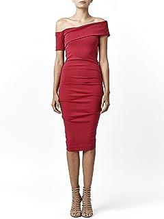 5822d0422e Nicole Miller Women s Structured Heavy Jersey One Sleeve Off Shoulder Dress
