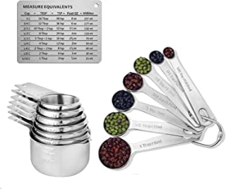 Measuring Cups,Stainless Steel Measuring Cups and Spoons Set of 15, 7 Measuring Cups and 7 Measuring Spoons with 2 D Rings and Magnetic Measurement Conversion Chart by Dorihom