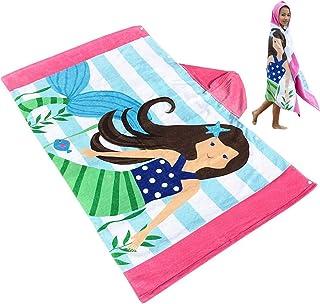 Baogaier Kids Hooded Bath Towel Beach Towel with Hood Girls Boys Children Hoodie Swimming Towel Mermaid Pattern Cotton Colourful Large 30x50 Inch Soft Water Absorbent Babies Shower Towel Blanket Blue