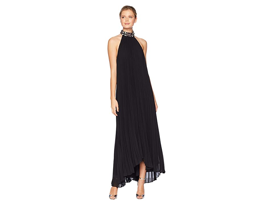 Laundry by Shelli Segal Jewel Neck Pleated Chiffon Gown (Black) Women