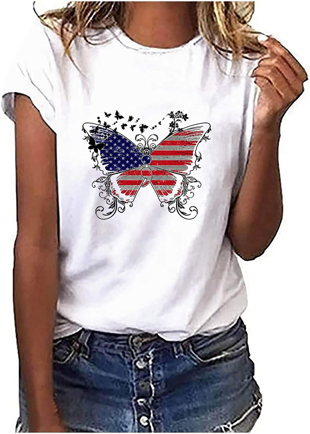 VEKDONE Women American Flag Cat Paw Print USA T-Shirt 4th of July Independence Day Patriotic Funny Graphic Tees Tops