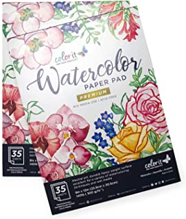 "ColorIt 9""x12"" Watercolor Paper Sketch Pad, 70 Sheets Total, Mixed Media Use,140lb/300g Cold Press Painting Paper White, 2 Pack"
