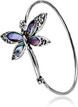 PANGRUI Exquisite Dragonfly Charm Bracelet Abalone Shell Bangle Cuff Antique Silver
