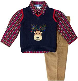 Newborn and Infant Boy Reindeer Appliqued Holiday Three Piece Sweater Set