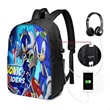 Men's and Women Sonic Boom-Sonic Wave Zero Gravity Riders Anime Large Laptop Backpack 17 Inches, Student Backpack with USB Charging Interface, Leisure Hiking Backpack