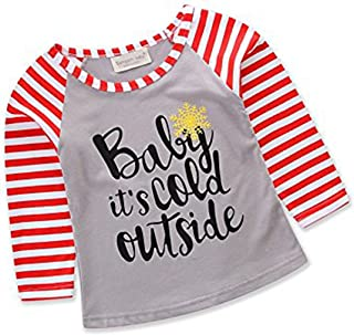 gllive Parent-Child Outfit, Letter Print Long Sleeve Stripe Shirts Tops Family Matching Costume (120CM, Baby)