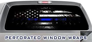ITI Global Designs Dark Pride 008 Window WRAP : Police Blue Line American Flag : Truck Car Rear Decal Sticker