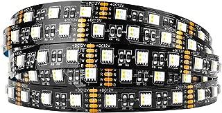 BTF-LIGHTING 5050 RGBW RGB+Warm White (2700K-3000K) 4 Colors in 1 LED 16.4ft 60LEDs/m Multi-Colored LED Tape Lights IP30 Non-Waterproof Black PCB LED DC12V