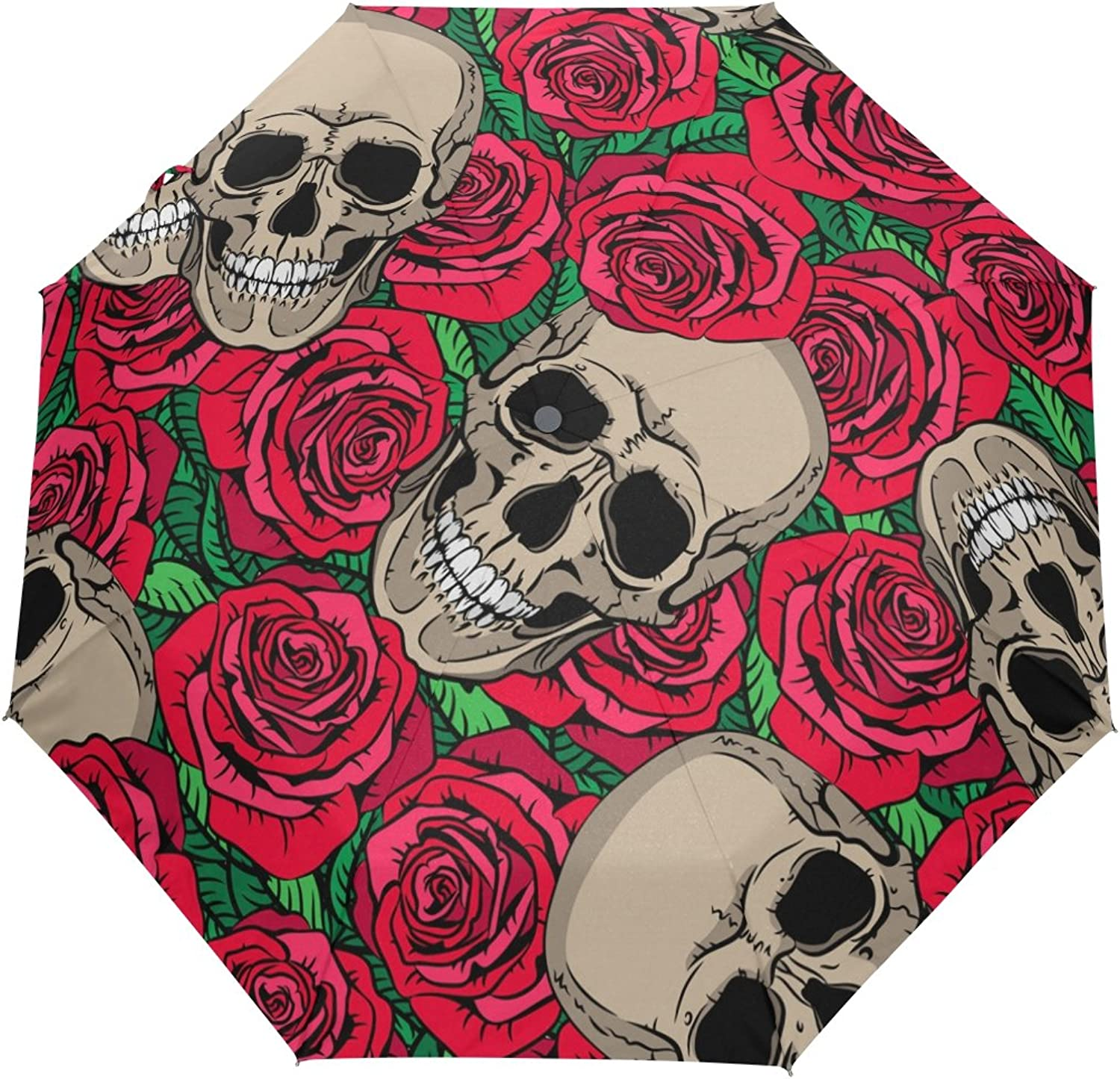 MASSIKOA Skulls and Red pinks Umbrella Double Sided Canopy Auto Open Close Foldable Travel Rain Umbrellas