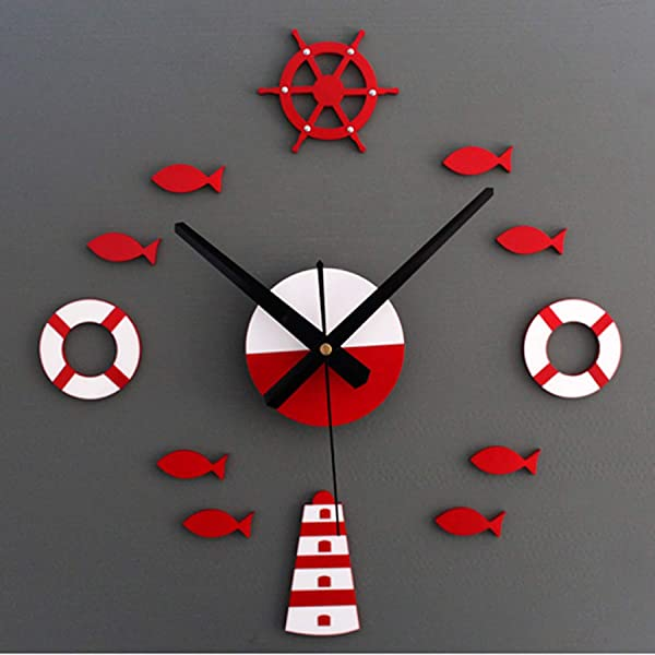Charmsamx Wall Clock Silent Non Ticking Wall Clocks 3D Small Fish Bubble Stereo Acrylic Mirror Sticker Art Painting Home Office School Decor Battery Operated Clock For Home Decor