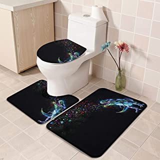 Decor Love Toilet Mats for Bathroom U Shaped Lid Cover Set of 3, Washable Bathmat Water Absorbent Foam Contour Mat, Glowing Rainbow Party Funny Cartoon Dinosaur Animal 20''x31''+16''x18''+16''x20''