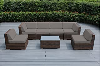 Genuine Ohana Outdoor Patio Sofa Sectional Wicker Furniture Mixed Brown 7pc  Couch Set (Sunbrella Taupe