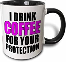 "3dRose ""I Drink Coffee For Your Protection, Blue"" Two Tone Black Mug, 11 oz, Black"