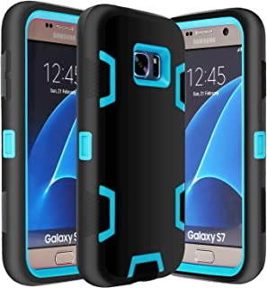 E LV Galaxy S7 Case Hybrid Defender Rugged Shockproof Dirtproof Case Cover for Samsung Galaxy S7 - [Black/Turquoise]