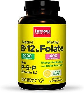 Jarrow Formulas Methyl B-12 & Methyl Folate - 100 Chewable Tablets, Lemon - Bioactive Vitamin B12 & B9 - Supports Energy P...