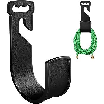 CandyHome Garden Hose Hanger Durable Plastic Wall Mount Hose Holder Rust-Free Hose Hook Hanger for Water Hose (Black)