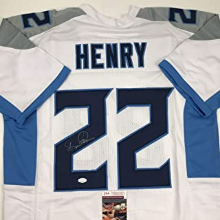 Autographed/Signed Derrick Henry Tennessee White Football Jersey JSA COA