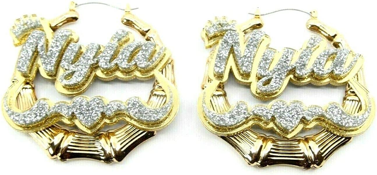 Personalized Custom Gold Hoop Bamboo Earrings Name Plate Laser Cut Design Stunning Look - Quality, Attractive Gold Hoop Earrings With Swirls Heart and Crown on Top, Made To Order - 3.5 INCHES size