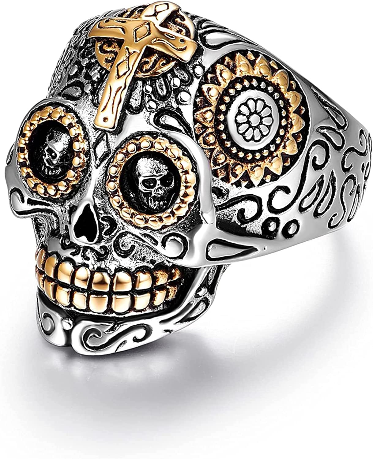 Sugar Skull Rings for Men Women, Stainless Steel Day of the Dead Mens Jewelry, Cool Biker Gothic Ring Christmas Gifts