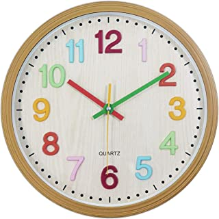 Foxtop Kids Wall Clock, Silent Non-Ticking Battery...