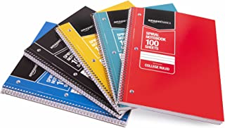AmazonBasics College Ruled Wirebound Spiral Notebook, 100 Sheets, Assorted Solid Colors, 5-Pack