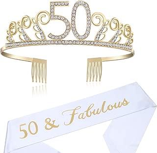 BABEYOND 50th Birthday Tiara and Sash Crystal Happy Birthday Crown and Satin 50 & Fabulous Sash 50th Birthday Party Supplies Rhinestone 50th Princess Crown and Glitter Sash (Set-1)