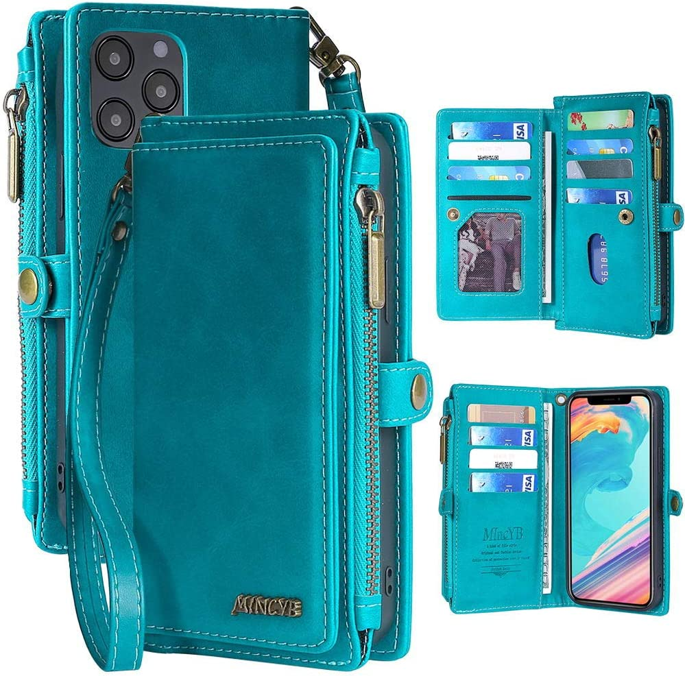 MInCYB Case for iPhone 12 Pro Max, iPhone 12 Pro Max Leather Wallet Case, 2 in 1 Zipper Detachable Magnetic Flip Folio Covers with Wristlet Strap, Suitable for Apple iPhone 12 Pro Max. (Blue)