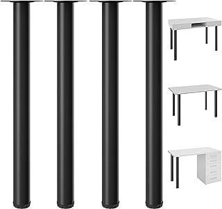 Best Kullavik 28 Inch Adjustable Desk Legs Durable Table Legs Heavy Duty Metal Furniture Legs for Office Desk, Coffee Table, Kitchen Table (Set of 4)- Black Review