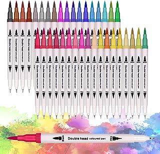 36 Couleurs Stylo Aquarelle,Feutres Pinceaux,Art aquarelle Brosse Pointe stylos,Dual Brush Pen pour Livres de Peintures, C...