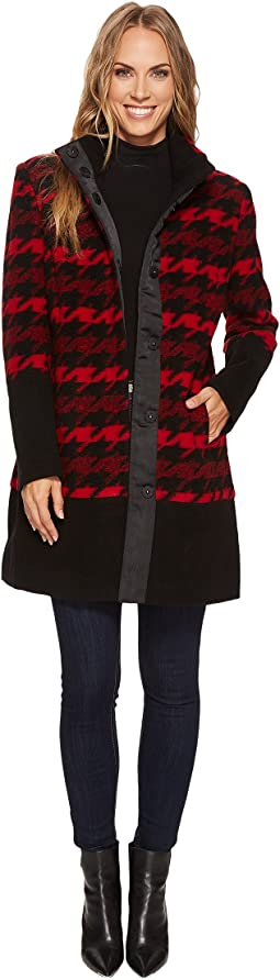 Tribal - Long Sleeve Color Block Houndstooth Plaid Coat