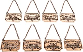 8PCS Liquor Decanter Tags, Deluxe Set of Liquor Tags for Bottles or Decanters, Liquor Bottles Labels with Adjustable Chain - Whiskey, Bourbon,Scotch,Gin,Rum,Vodka,Tequila and Brandy (Copper)