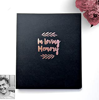 in Loving Memory Scrapbook Album. Black Softcover Embossed w/Gold Foil. Black Paper, 65 Sheets (130 pgs). Black Photo Album, Funeral Guest Book.