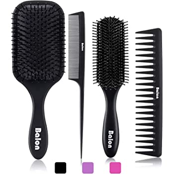 Amazon Com 4pcs Paddle Hair Brush Detangling Brush And Hair Comb Set For Men And Women Great On Wet Or Dry Hair No More Tangle Hairbrush For Long Thick Thin Curly Natural