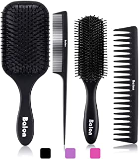 4Pcs Paddle Hair Brush, Detangling Brush and Hair Comb Set for Men and Women, Great On..