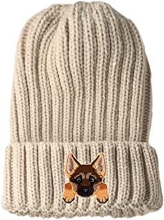 [ German Shepherd ] Cute Embroidered Puppy Dog Warm Knit Fleece Winter Beanie Skull Cap