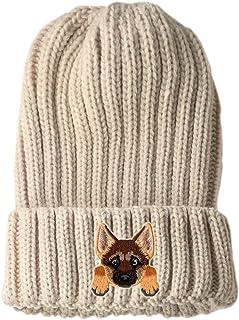 [ German Shepherd ] Cute Embroidered Puppy Dog Warm Knit Fleece Winter Beanie Skull Cap