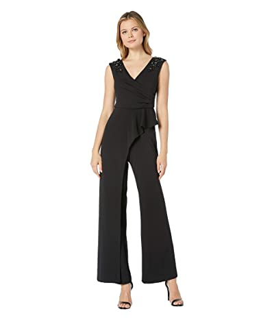 Adrianna Papell Embellished Extended Shoulder Jumpsuit with Cascading Peplum (Black) Women