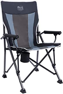 Timber Ridge Camping Chair 400lbs Folding Padded Hard Arm Chair High Back Lawn Chair Ergonomic Heavy Duty with Cup Holder,...