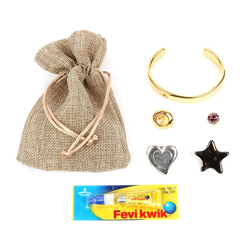 Bracelet Beads Direct Bangle Kit with Glue Bag and 3?Pins?–?Star Heart Crystal Other Gold 14?x 16.5?x 1?cm [parallel import goods]