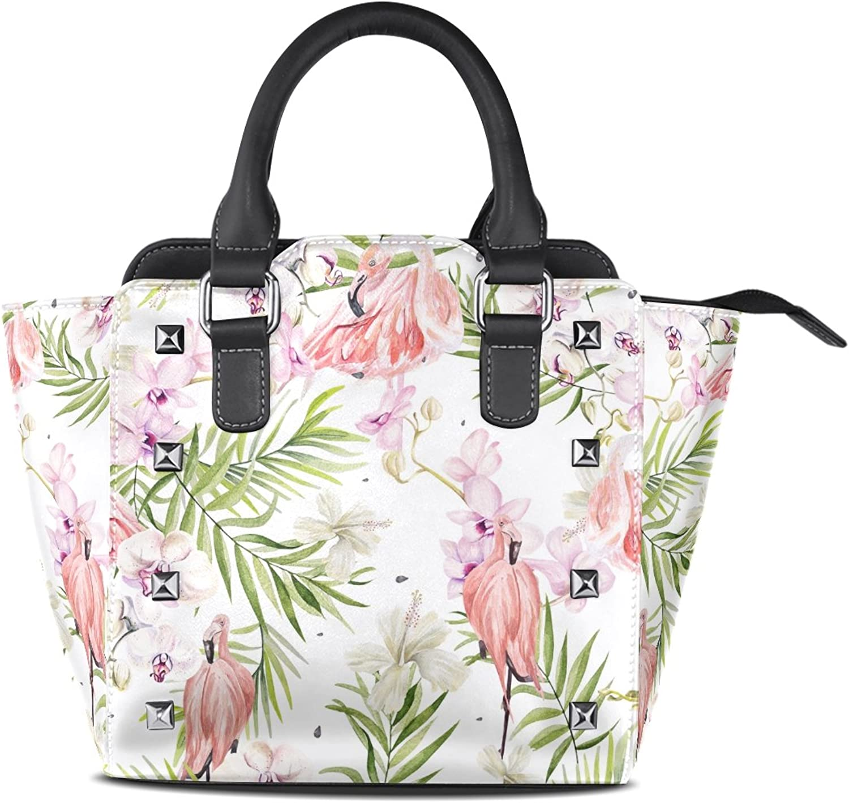 My Little Nest Women's Top Handle Satchel Handbag Watercolor Hibiscus Flowers Flamingo Bird Ladies PU Leather Shoulder Bag Crossbody Bag
