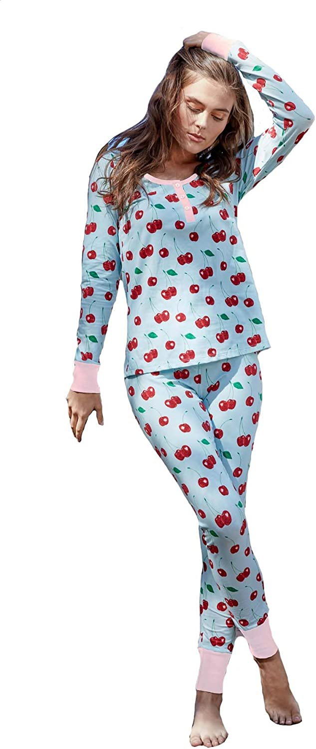 BedHead Pajamas Cherry Hearts Stretch L S Henley PJ Set 1097SL77038