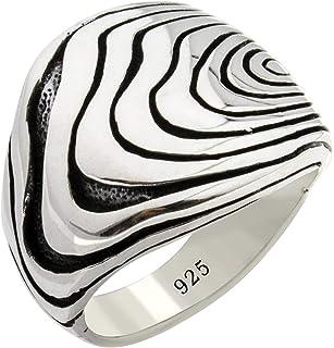 Solid 925 Sterling Silver Special Fingerprint Design Luxury Turkish Men's Ring