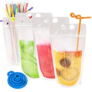 30Pcs Drink Pouches with Individual Package Straws Translucent Frosted Reclosable Zipper Juice Pouches Smoothie Pouches for Cold & Hot Drinks– 10 Ice Cube Bags& Silicone Funnel Included